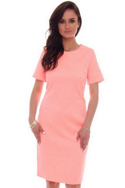 Sukienka midi rozcięcie CMK57 neonowy róż