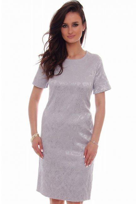 Sukienka midi rozcięcie CMK57 szary