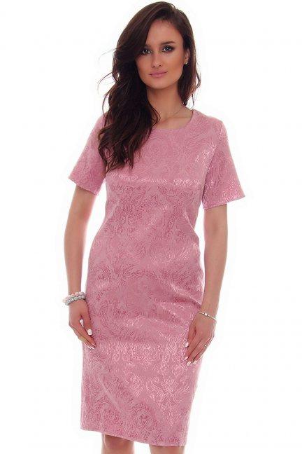 Sukienka midi rozcięcie CMK57 różowa