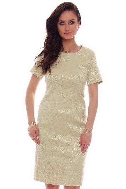 Sukienka midi rozcięcie CMK57 zielona