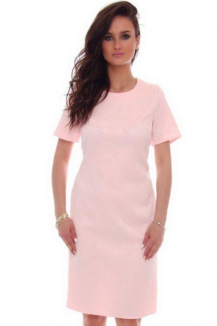 Sukienka midi rozcięcie CMK57 pudrowy róż
