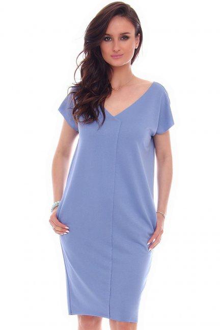 Sukienka tuba kieszenie CMK67 niebieska
