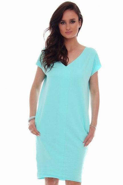 Sukienka tuba kieszenie CMK67 turkusowa