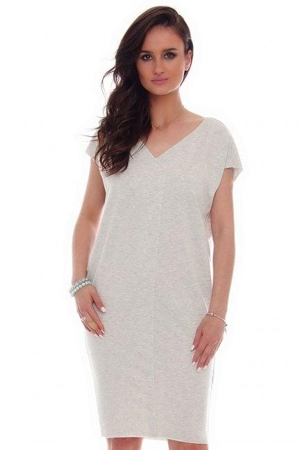 Sukienka tuba kieszenie CMK67 szara