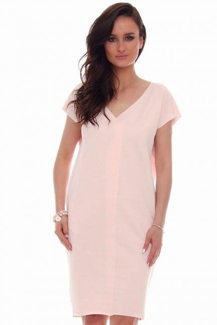 Sukienka tuba kieszenie CMK67 różowa