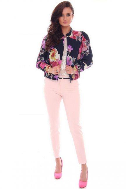 Spodnie eleganckie pasek CMK72 różowe