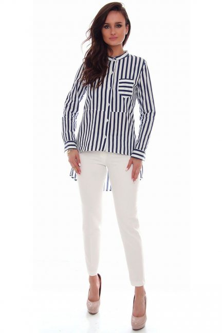 Spodnie eleganckie pasek CMK72 białe
