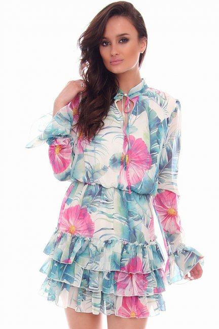 Sukienka mini wiązana CMK73 biała