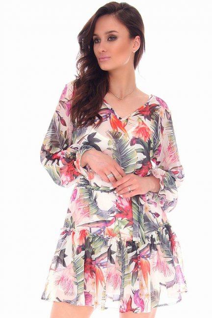 Sukienka modna kwiaty CMK74 biała