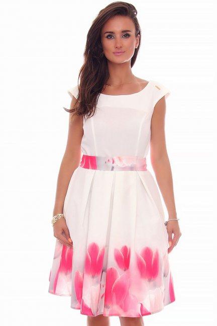 Sukienka klosz tulipany CMK597 biała