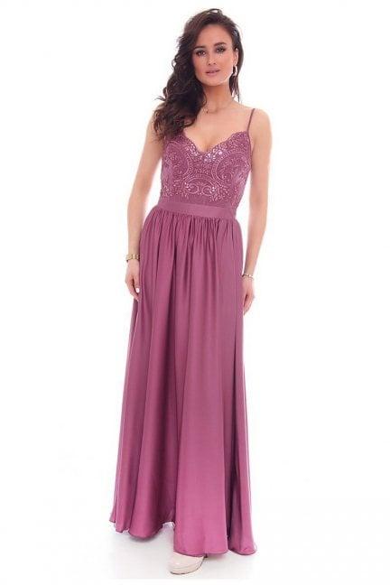 Sukienka koronka ramiączka CMK34 fioletowa