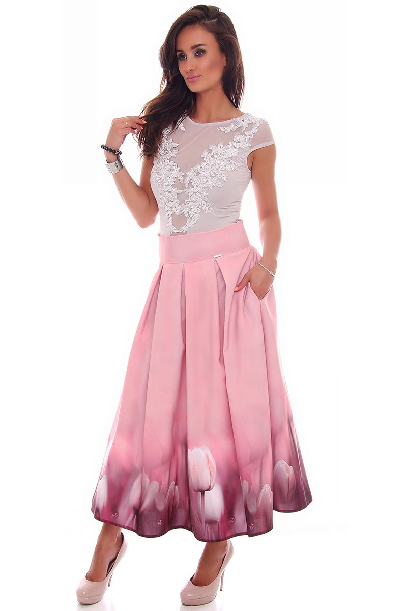 6902ac61 Spódnica długa tulipany CMK622 różowa modna odzież online CosmosModa