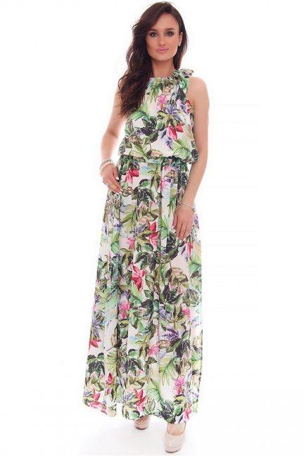 Sukienka maxi w kwiaty CMK53 zielona