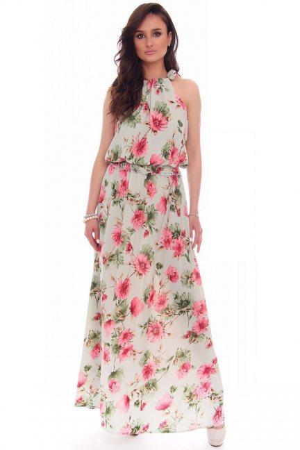 Sukienka maxi w kwiaty CMK53 miętowa