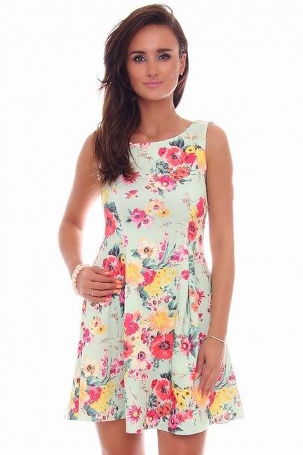Sukienka rozkloszowana CM260 miętowa