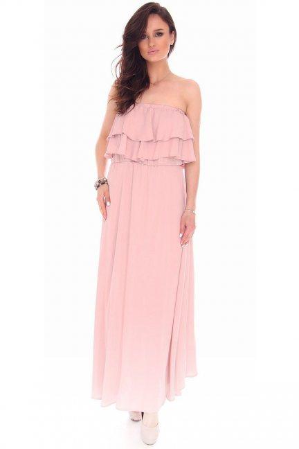 Sukienka maxi hiszpanka CMK66 brudny róż