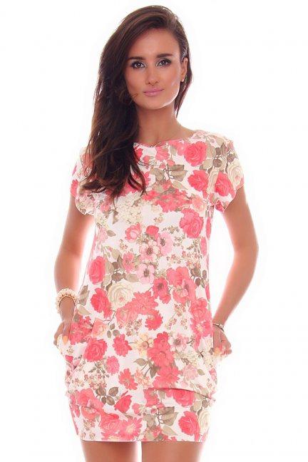 Sukienka letnia w kwiaty CM094-4 biała