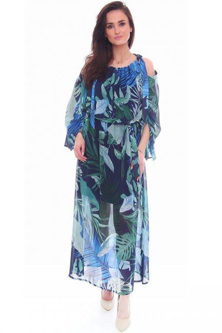 Sukienka zwiewna w kwiaty CMK993 niebieska