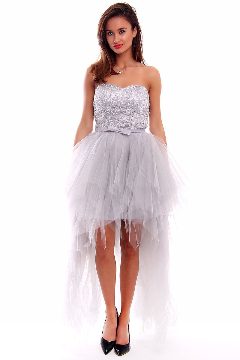 ba92601f9f Sukienka tiulowa maxi CMW04 szara sukienki wizytowe online CosmosModa