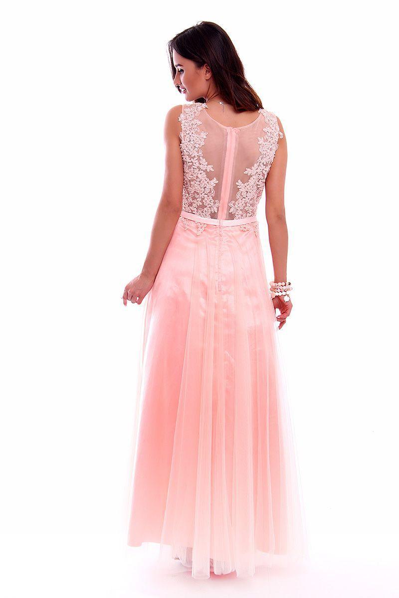54513652 Sukienka tiulowa z cekinami CMW01 różowa sukienki wizytowe CosmosModa