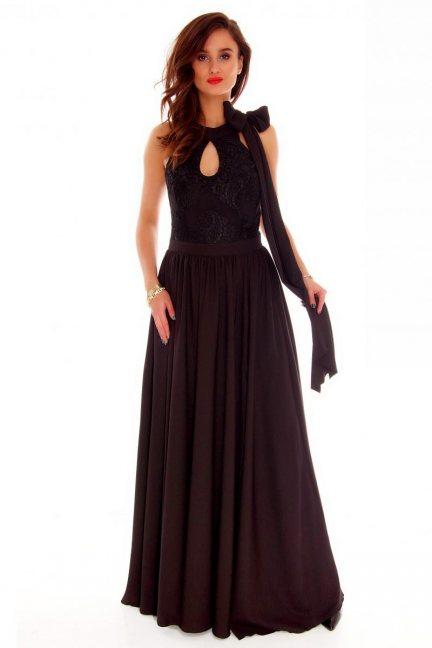 Sukienka maxi kokarda CMK721 czarna