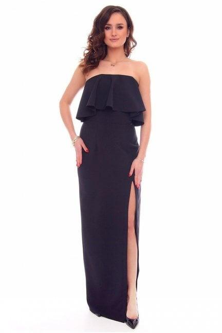 Sukienka maxi z rozporem CMK892 czarna