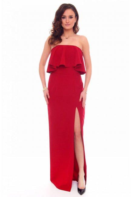 Sukienka maxi z rozporem CMK892 bordowa