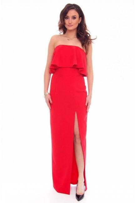 Sukienka maxi z rozporem czerwona
