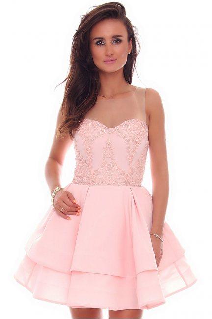 Sukienka mini koronkowa CMK78 różowa