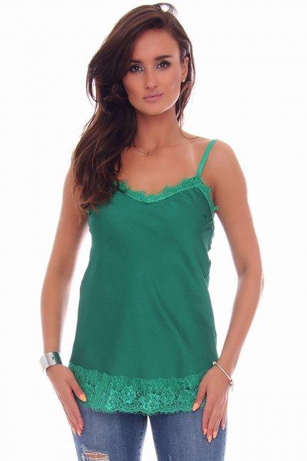 Bluzka ramiączka koronka CMK79 zielona