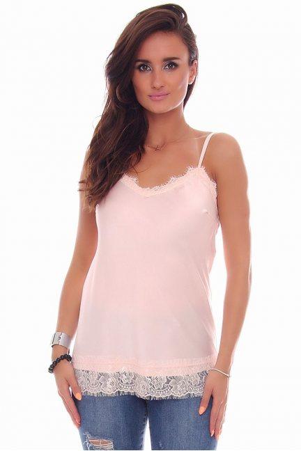 Bluzka ramiączka koronka CMK79 różowa
