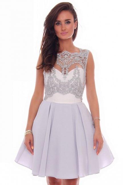 Sukienka rozkloszowana z koronką szara
