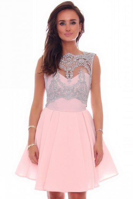Sukienka rozkloszowana z koronką różowa