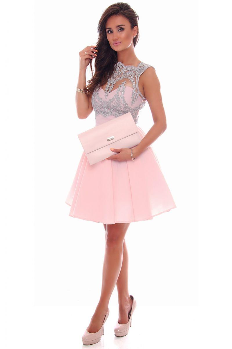 bd70c7136e Sukienka modna z koronką CMK81 różowa modne sukienki sklep CosmosModa