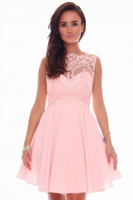 Sukienka modna z koronką CMK82 różowa
