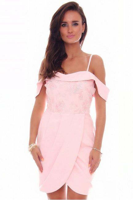 Sukienka mini tulipan CMK84 różowa