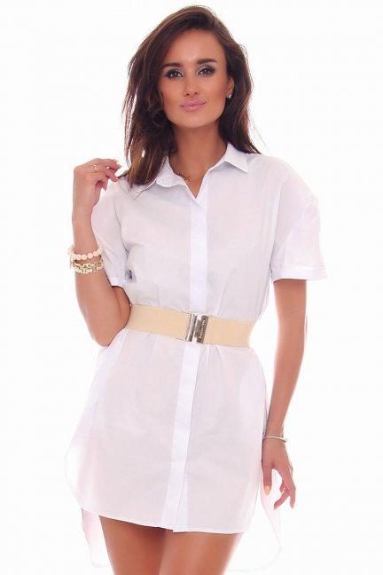 Sukienka koszulowa guziki CMK80 biała