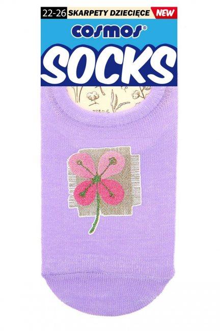Stopki sportowe z kwiatkiem CS367 fioletowe
