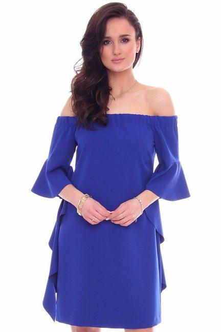 Sukienka z odkrytymi ramionami CMK354 chabrowa