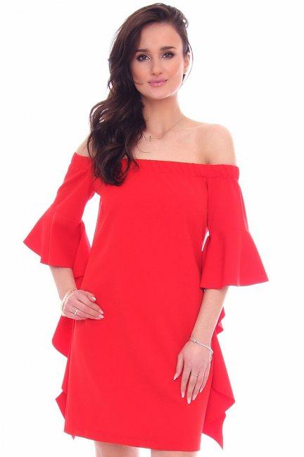 Sukienka z odkrytymi ramionami CMK354 czerwona
