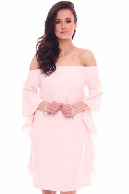 Sukienka odkryte ramiona CMK354 pudrowy róż