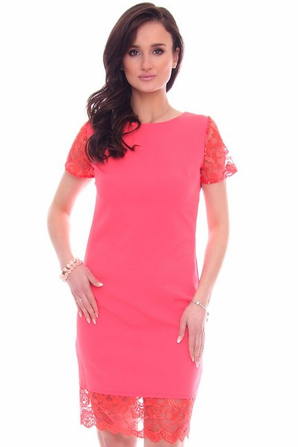 Sukienka damska z koronką CM588 koralowa