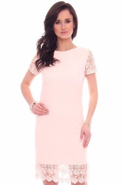Sukienka damska z koronką CM588 pudrowy róż