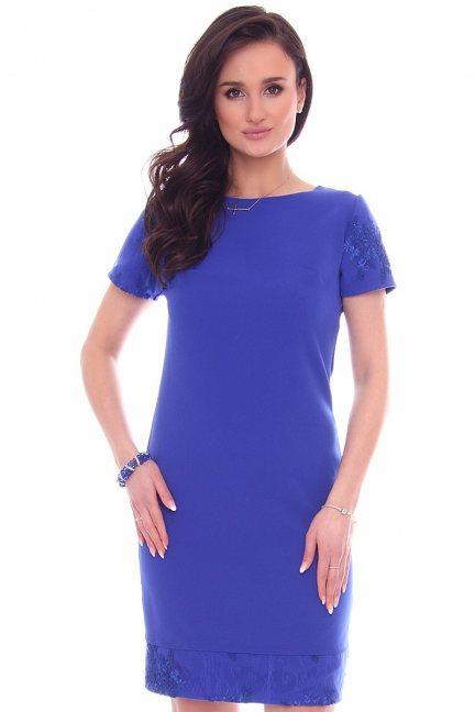 Sukienka modna z koronką CM589 chabrowa