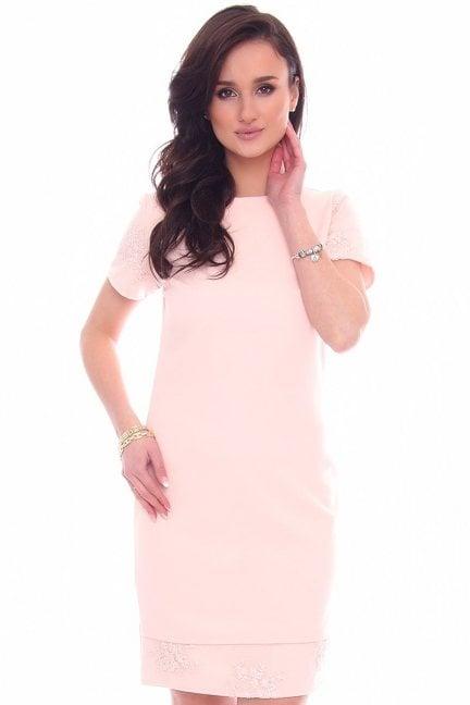 Sukienka modna z koronką CM589 różowa