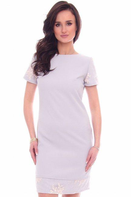 Sukienka modna z koronką CM589 szara