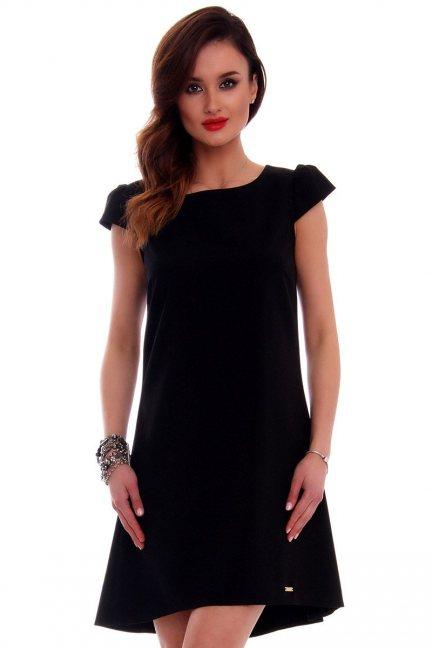 Sukienka asymetryczna CMK517 czarna