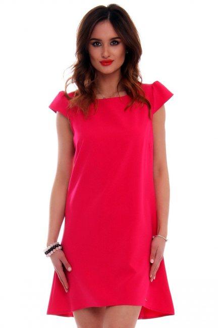 Sukienka asymetryczna CMK517 czerwona