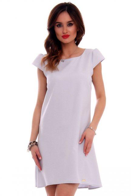 Sukienka asymetryczna CMK517 szara