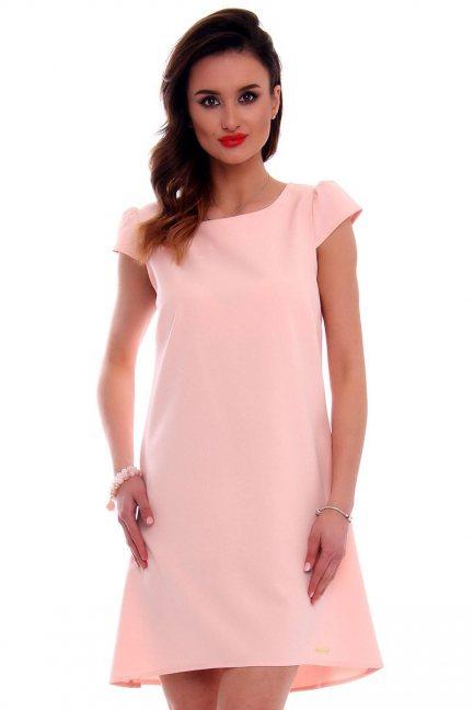 Sukienka asymetryczna CMK517 różowa